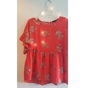 Red Floral Babydoll Bohemian Blouse